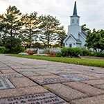 Couple's Personalized Brick set in the path from our wedding chapel to our white garden gazebo