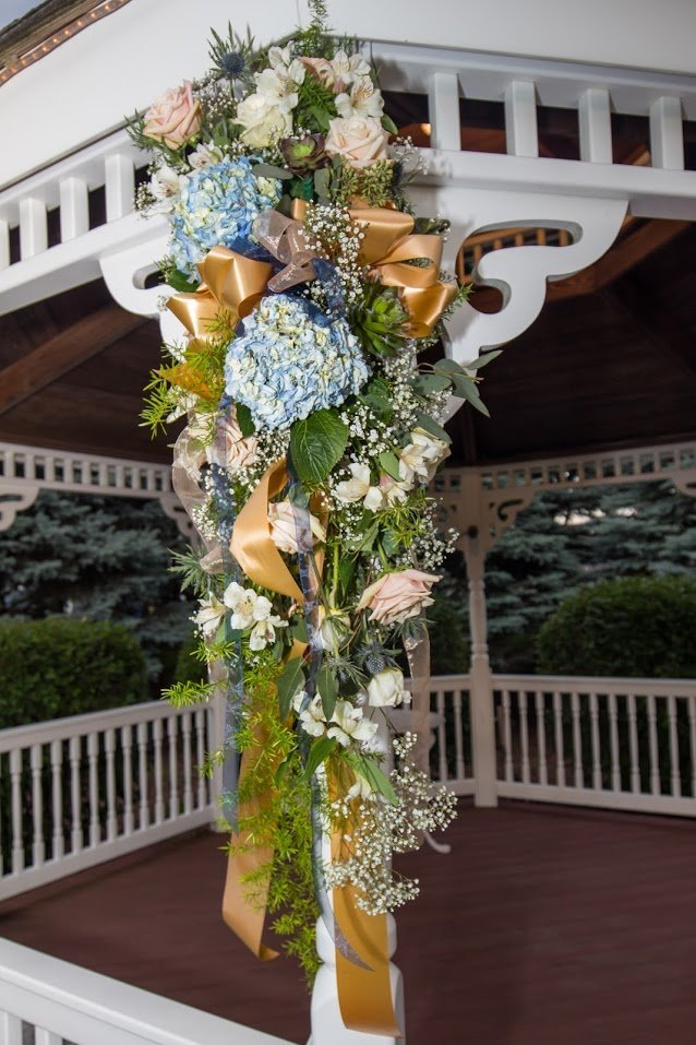 FLoral decoration attached to our garden gazebo