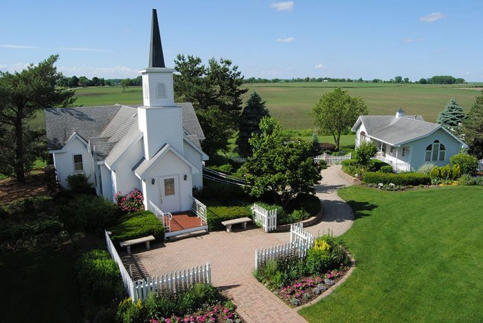 aerial drone view of chapel in the pines gardens chapel and bridal cottage - Reception & Wedding Grounds Videos
