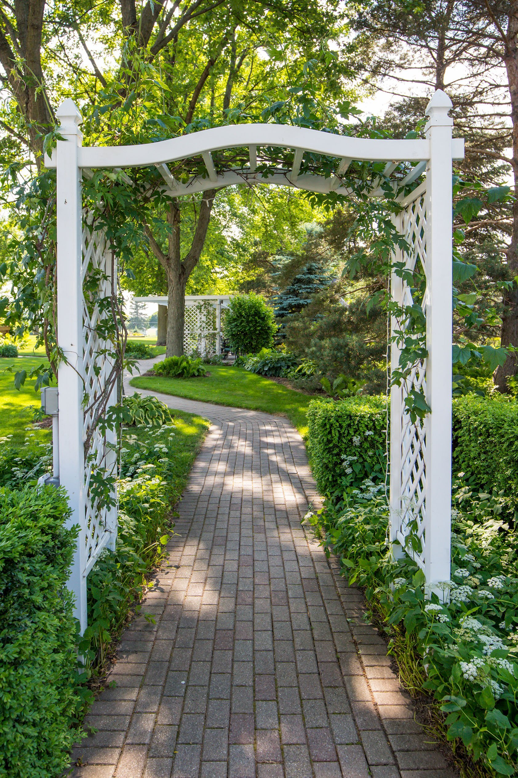 Grounds & Garden path through our ivy colored trellis.