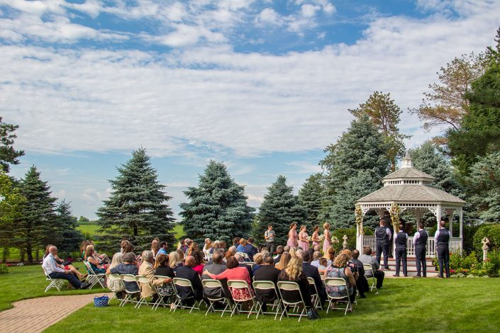 view of a gazebo wedding ceremony