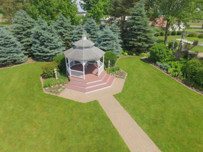 aerial drone view of our gazebo