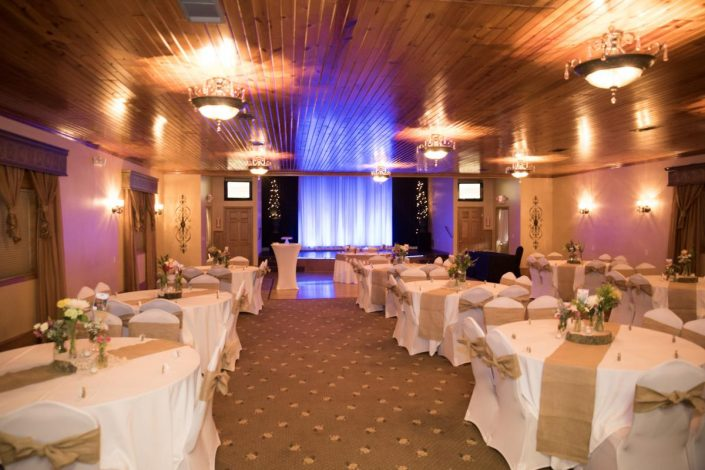 view of our wedding reception banquet hall before a ceremony