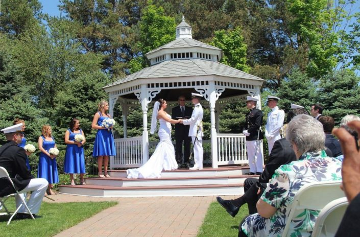 military wedding ceremony at the gazebo