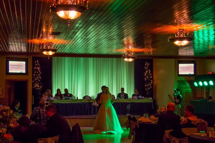 bride and groom's first dance in our wedding reception hall