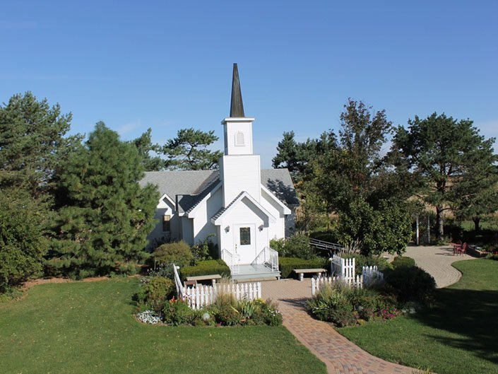 Victorian Chapel aerial drone view on a clear day