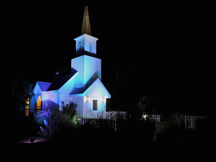 Colored lights brighten up our wedding chapel at night