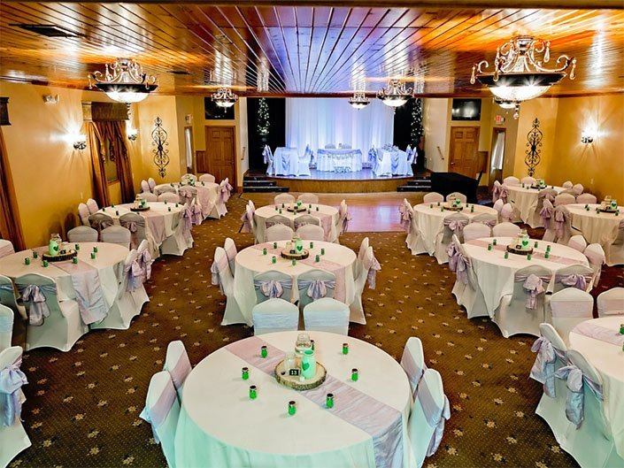 Our Reception Hall can hold 150 guests. The interior of our Reception Hall is lit with beautiful chandeliers and fitted to a beautiful stained wooden ceiling.